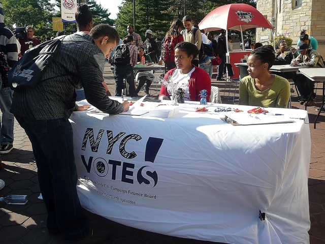 Tuesday's  event was organized by NYC Votes!, a voter engagement campaign run by the city's Campaign Finance Board.