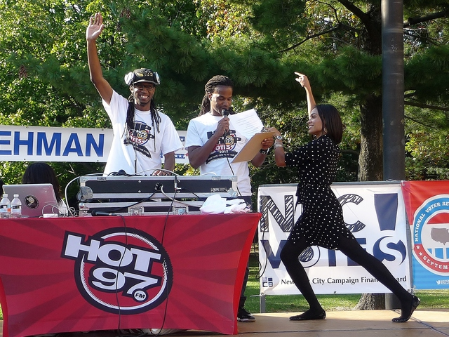 Actress Rosario Dawson joined Hot 97's DJ Wallah and DJ Spynfo on stage at the
