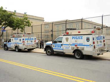 A Deer died after being trapped on the premises of the Bayside High School in Queens at about 9:30AM. The Deer reportedly repeatedly ran head first into a chain link fence in a futile effort to escape. Animal Control Officers removed the Deer from the scene. Sept. 26, 2012.