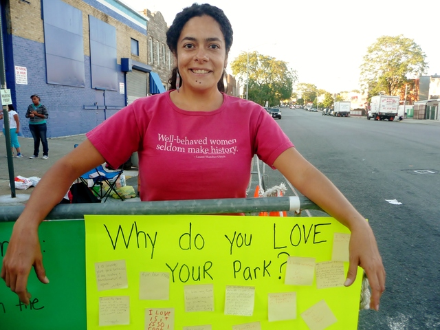 G.I.V.E. founder Nilka Martell asked participants to write down the reason they love their community park.