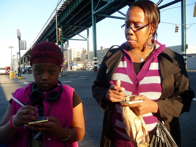 Latonya Walters, right, and her daughter, Shaniya, said they'd never been to Concrete Plant Park even though they live just a few blocks away.