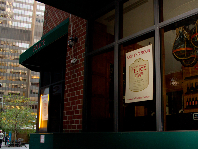 Felice, a new Italian restaurant at 15 Gold St., will open Oct. 3, 2012.