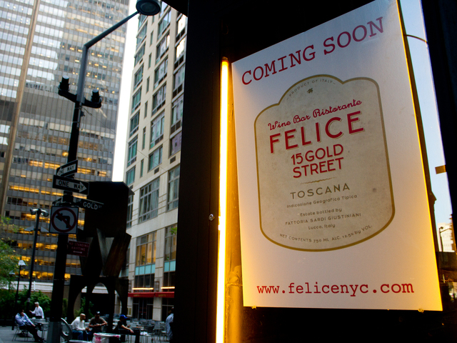 Felice, a new Italian restaurant located at 15 Gold St. in the Financial District, will open October 3.