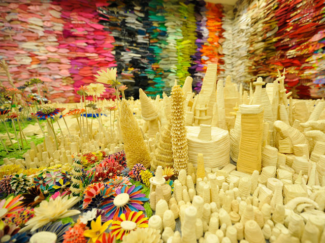 Danny Scheible used only masking tape to create a fantasy landscape.