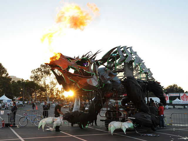 A makeshift dragon at Maker Faire.