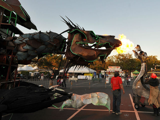 Dueling dragons at Maker Faire.