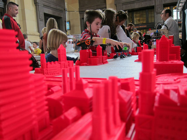 Michael Curry designed this cityscape, which fans took in earlier this year at a Maker Faire.
