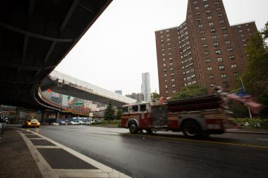 A 64-year-old woman was seriously injured when a taxi cab hit her as she crossed South Street near the FDR Drive Thursday Sept. 27, 2012.