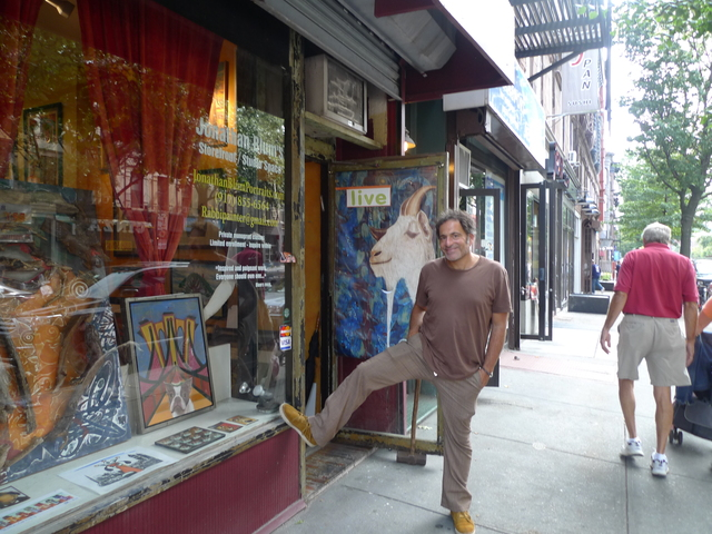 Painter Jonathan Blum outside his Fifth Avenue storefront studio in Park Slope.