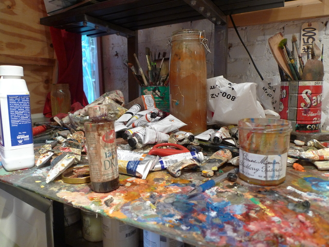 Park Slope artist Jonathan Blum's painting studio in a Fifth Avenue storefront.