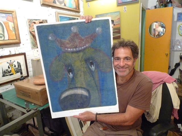 Painter Jonathan Blum and a dog portrait in his storefront studio at 285 Fifth Ave. in Park Slope.