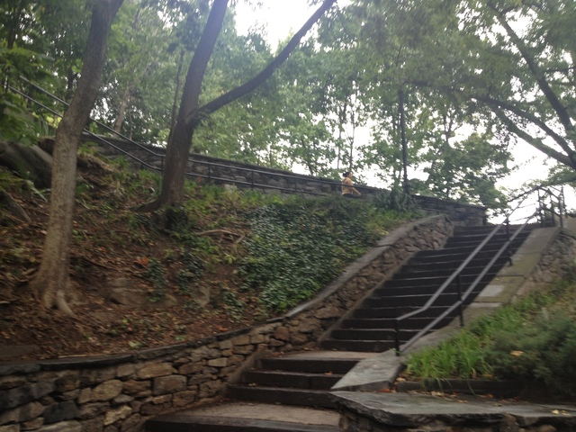 A senior citizen reported being mugged by two men while walking home along the stairs near Broadway leading to Isham Park on Sept. 26, 2012.
