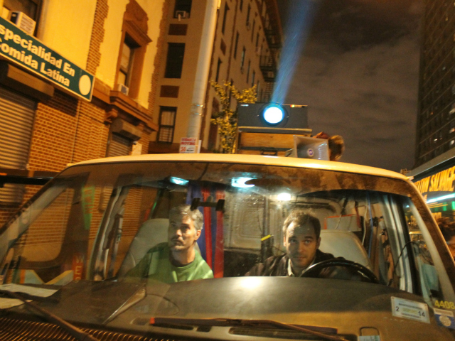<p>Read (right) operating The Illuminator during an anti-stop and frisk action in The Bronx.</p>