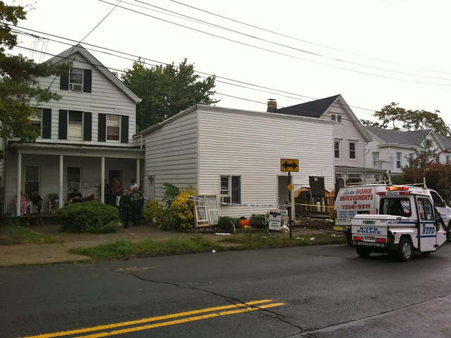 <p>A Hyundai crashed in a home at Arthur Kill Road on Sept. 28, 2012.</p>