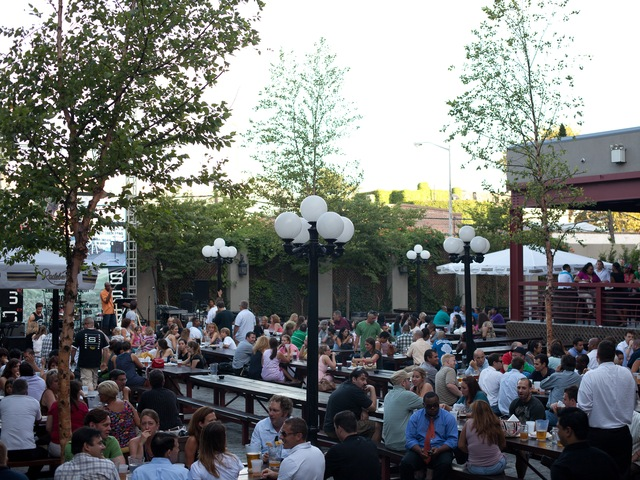 At Studio Square customers can sip beers in a garden with communal tables.