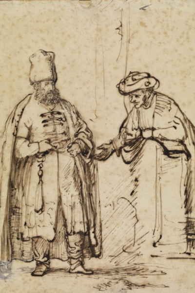 Detail from Rembrandt van Rijn (1606–1669) Two Men in Discussion, 1641 Quill and reed pen in brown ink, with corrections in white gouache 9 x 7.25 inches