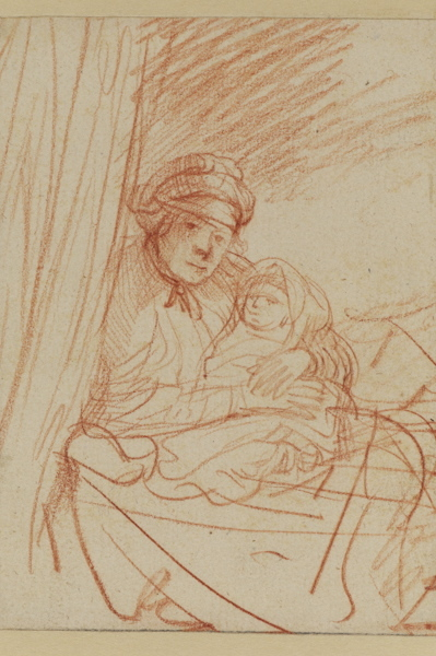 Rembrandt van Rijn (1606–1669) Saskia(?) Sitting Up in Bed, Holding a Child, c. 1635 Red chalk 5.5 x 4.2 inches