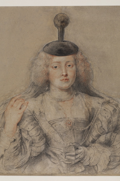 Detail from Peter Paul Rubens (1577–1640) Helena Fourment, c. 1630–31 Black, red, and white chalk (retouched with pen and brown ink in some details of the head and headdress) 24 x 21.7 inches