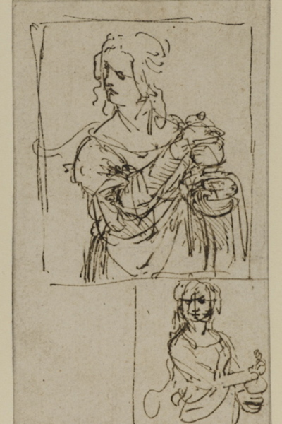 Leonardo da Vinci (1452–1519) Studies for Saint Mary Magdalene, c. 1480–82 Pen and brown ink 5.4 x 3.1 inches