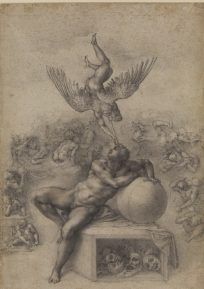 Michelangelo Buonarroti (1475–1564) The Dream (Il Sogno), c. 1533 Black chalk 15.6 x 11 inches