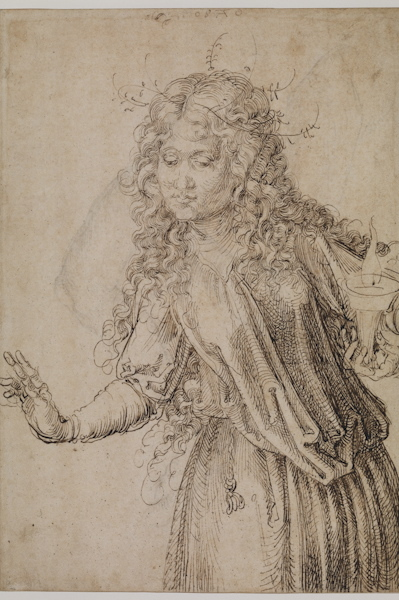 Detail from Albrecht Dürer (1471–1528) A Wise Virgin, 1493 Pen and brown ink on paper 11.4 x 7.9 inches
