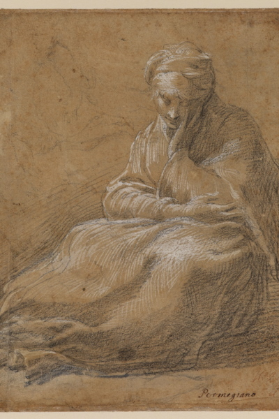 Parmigianino (1503–1540) Woman Seated on the Ground, c. 1523–24 Black chalk and white gouache on light brown tinted paper 9 x 6.9 inches