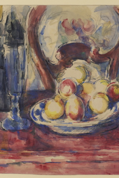 Detail from Paul Cézanne (1839–1906) Apples, Bottle and Chairback, c. 1904–6 Graphite and watercolor on wove paper 18 x 23.8 inches