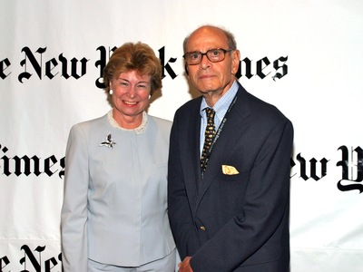<p>Arthur Sulzberger, here in 2004 with Allison Cowles, died on Sept. 29, 2012. He was 86.</p>