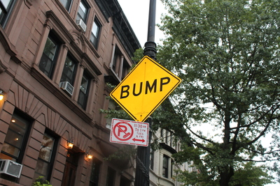 <p>A sign warning of a speed bump is often ignored, Hamilton Terrace residents say.</p>