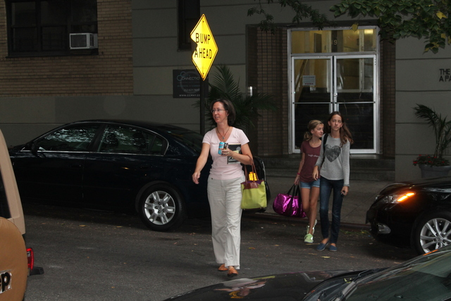 <p>Jennifer Geddes, 45, crosses the street with daughters Isabel, 14 and Fiona, 11. &quot;The minute they turn the corner, they fly up the hill, especially during rush hour,&quot; said Jennifer Geddes.</p>