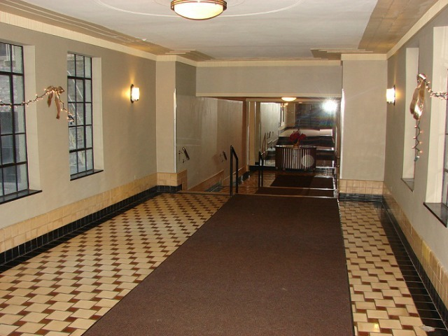 <p>The lobby of 350 Cabrini Boulevard, which is zoned for P.S. 187.</p>