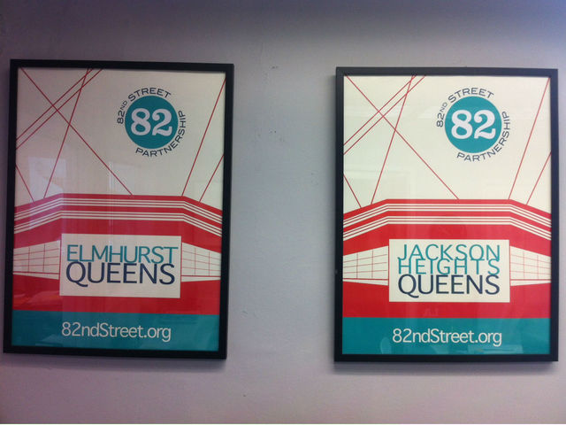 <p>Branded posters align the walls of the 82nd Street Partnership&#39;s office.</p>