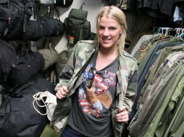 Many of the city's trendsetters are looking hot for less by shopping in the city's bounty of Army clothing stores.