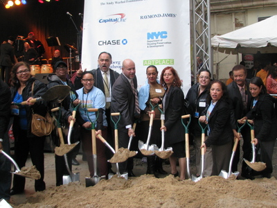 <p>On Tuesday, Oct. 2, 2012, developers broke ground at El Barrio&#39;s Artspace PS109.</p>
