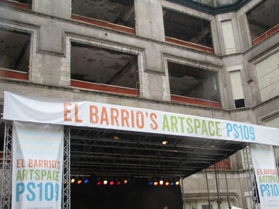 <p>The banner above the stage at the groundbreaking celebration for El Barrio&#39;s Artspace PS109.</p>