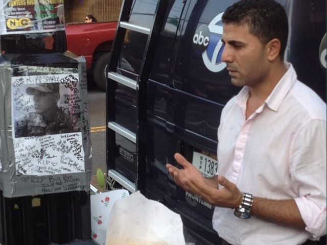 <p>Ashraf Selim, co-owner of The Ice Lounge, prays at a memorial for Noel Polanco, who worked at bar. Polanco was shot to death by an NYPD detective on Oct. 4, 2012.</p>