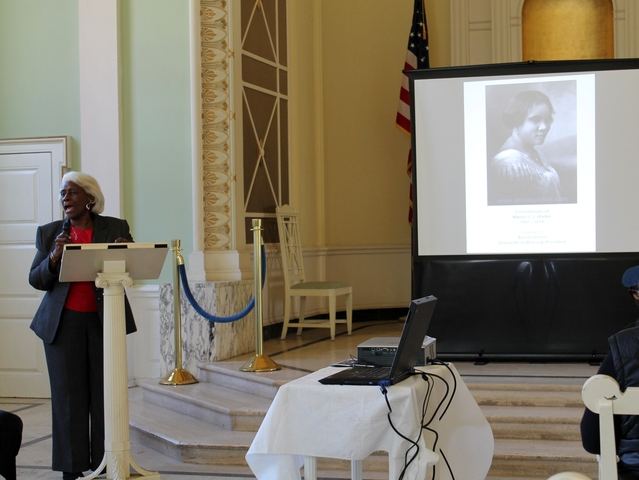 <p>Bronx Deputy Borough President Aurelia Green talks about pioneering businesswoman Madam CJ Walker, one of four historic women buried at Woodlawn Cemetery who were honored at an event on Monday.</p>
