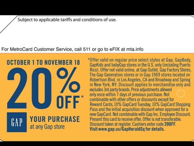 <p>A coupon good until Nov. 18, 2012, will appear on Gap themed MetroCards, which will be randomly disbursed by machines, or handed out by station agents, the MTA said on October 7, 2012.</p>