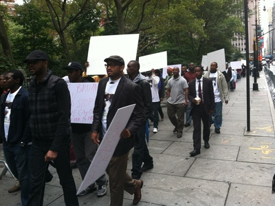 <p>Protestors marched up and down Broadway near Park Avenue.</p>