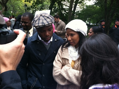 <p>Mohamed Bah&#39;s sister Oumou and lawyer Franciscus Diaba field questions from reporters at Saturday&#39;s demonstration.</p>