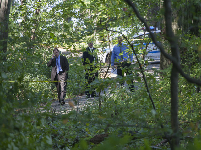 <p>Officials on the scene in Inwood Hill Park on Monday, Oct. 1, 2012, after the body of Seyed Ali Badakhshan was found.</p>