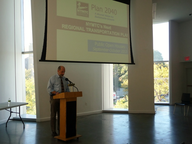 <p>Gerry Bogacz, planning group director for the New York Metropolitan Transportation Council, speaks at the Bronx open house. The Regional Transportation plan is a long-term blueprint for how transportation funding is spent in New York City, Long Island and the lower Hudson Valley.</p>