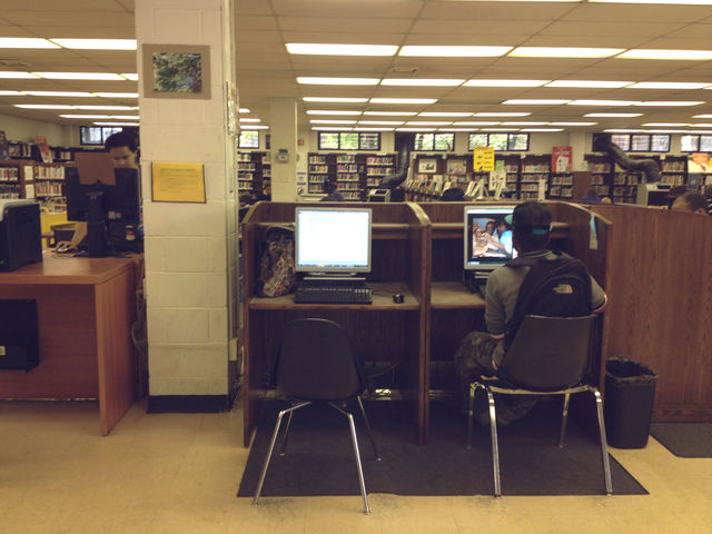 <p>The public computers are next to the children&#39;s area at the Clinton Hill branch of the Brooklyn Public Library.</p>