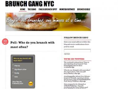 The brunch review website Brunch Gang NYC launched in May 2011.