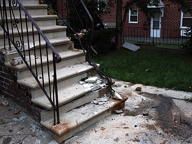 <p>The SUV drove in the Canarsie building&#39;s stairs on Oct. 8, 2012.</p>