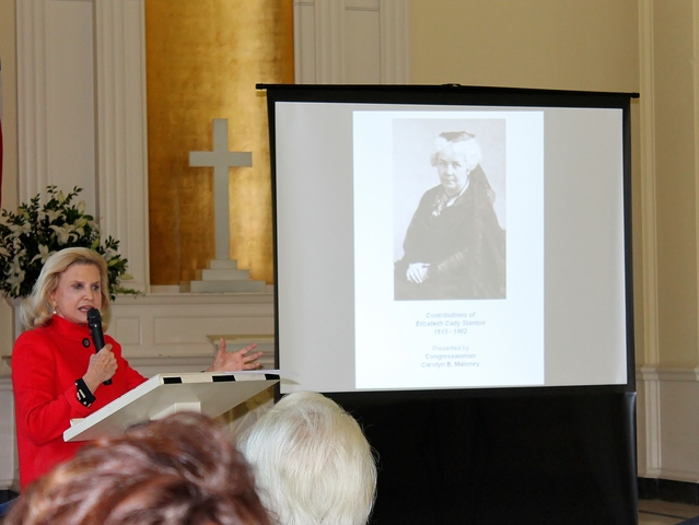 U.S. Congresswoman Carolyn Maloney talks about the life and accomplishments of Elizabeth Cady Stanton, one of four historic women buried at Woodlawn Cemetery who were honored at an event on Monday.