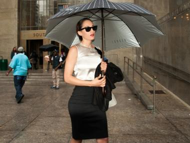 Catherine DeVries leaves Manhattan Criminal Court October 2, 2012 after pleading guilty to one count of prostitution