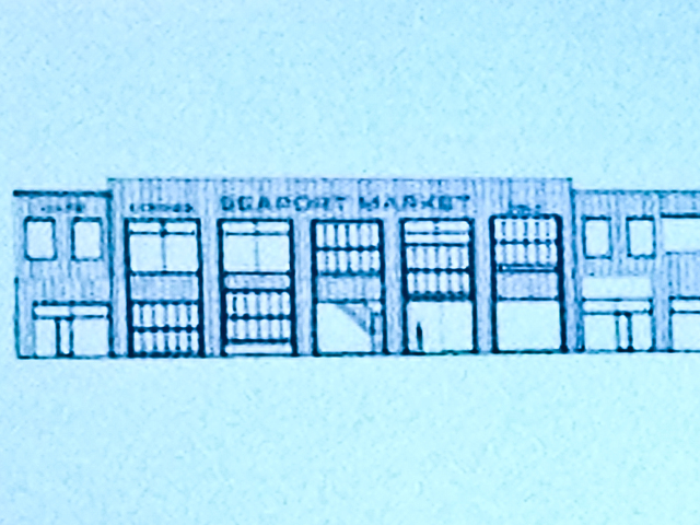 <p>A rendering of plans for a painted Seaport Market sign on Pier 17.</p>