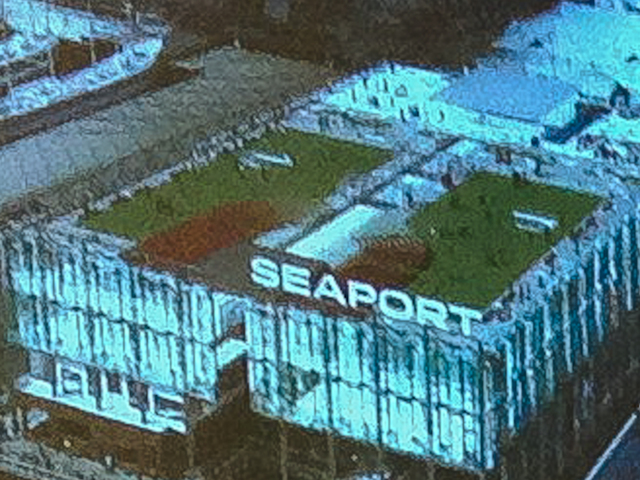 <p>A rendering of plans for an illuminated &quot;Seaport&quot; sign on Pier 17.</p>