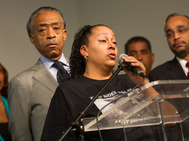 <p>Cecilia Reyes, 46, the mother of Noel Polanco, 22, who was shot and killed by the NYPD talks to the congregation at a press conference held by the National Action Network in Harlem on Oct. 6th, 2012.</p>